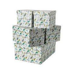 Scandi Leaves Set of 5 Storage Boxes