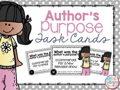 Use these author's purpose task cards to help your students practice identifying what pieces are written to persuade, inform or entertain.Task cards can be used in so many different ways in your classroom. They can be part of a literacy center, used with a game or done as a whole-group scoot activity.Included:Suggested ways to use task cards in the classroom24 task cards with color borders (can also be printed in black and white)Student recording sheetAnswer keyTry this in a money saving…