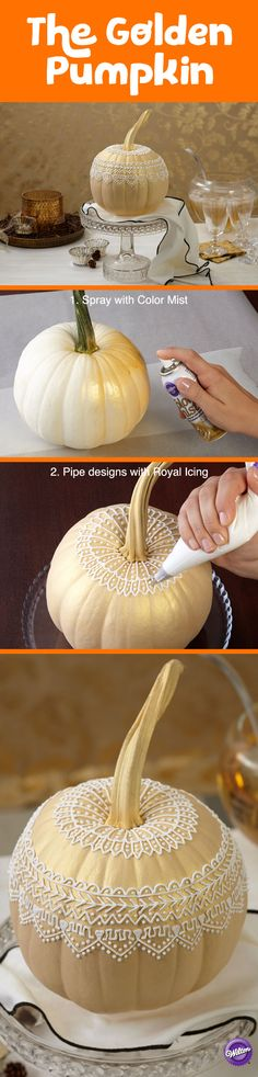 Try the no carve Halloween pumpkin decorating trend. Gold Color Mist Food color spray instantly updates it and intricate icing design makes its uniqueness shine.
