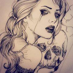 Woman with skull tattoo pin up tattoos, skull tattoos, sleeve tattoos, bo. Pin Up Tattoos, Skull Tattoos, Trendy Tattoos, Animal Tattoos, Body Art Tattoos, Sleeve Tattoos, Key Tattoos, Popular Tattoos, Foot Tattoos