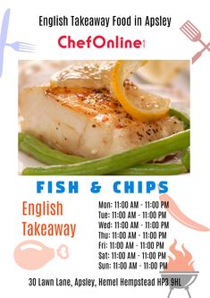 Lawn Lane Fish & Chips offers delicious English Food in Apsley, Hemel Hempstead Browse takeaway menu and place your order with ChefOnline. Order Takeaway, Hemel Hempstead, English Food, Fish And Chips, Baked Potato, A Table, Menu, Delivery, Restaurant