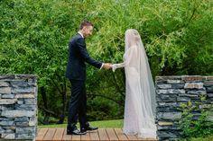 Real bride Alex in Inbal Dror with floor length veil orangegirlphotography