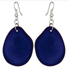 Mujus - Hoja earrings Cobalt (made from Tagua seeds)