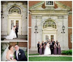 Beautiful bridal party photos taken within Henry Ford Museum's Pennsylvania Courtyard