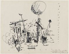 Sketch for Homage to New York. Felt-tip pen and ink on board. 22 x x cm). Gift of Peter Selz. © 2017 Artists Rights Society (ARS), New York / ADAGP, Paris. Drawings and Prints Jean Tinguely, Raymond Hains, Neo Dada, Moma Collection, Drawing Machine, List Of Artists, Museum Of Modern Art, Artist Names, Gravure