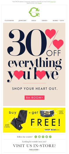 We love the incorporation of hearts into the percentage sign in this C Wonder Valentine's Day email