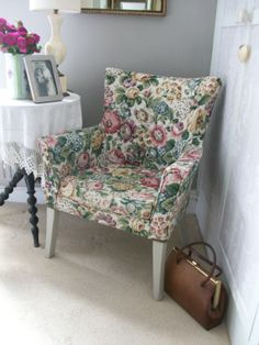 Vintage floral chair from Lavender House Vintage #vintage#chair#floral#home#interiors#grannychic SOLD