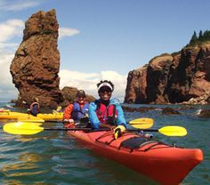 Navigate your kayak by the famous Three Sisters sea stack formation on a guided tour hosted by NovaShores Adventures. An incredible way to get up close with the natural beauty of the Fundy Shore and Annapolis Valley region. Annapolis Valley, East Coast Travel, Atlantic Canada, Newfoundland And Labrador, Prince Edward Island, New Brunswick, Quebec City, Whale Watching, Nova Scotia