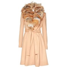 Alice + Olivia Light Camel Nikita Fox Fur Coat (5.900 RON) ❤ liked on Polyvore featuring outerwear, coats, flare coat, fox fur coat, long fox fur coat, beige coat and flared coat