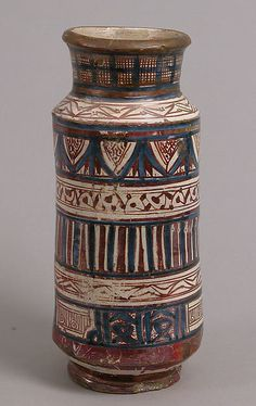 Pharmacy Jar Date: 1400–1450 Geography: Made in probably Manises, Valencia, Spain Culture: Spanish. Overall: 12 1/2 x 5 1/2 in. (31.8 x 14 cm)