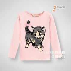 High quality 2014 Kids soft Spring/autumn cotton T shirts 2 10 years old girls cute little cat cartoon T shirts-in Tees from Apparel & Accessories on Aliexpress.com