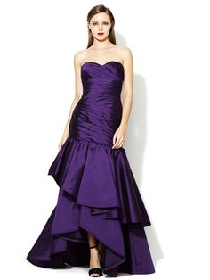 ML Monique Lhuillier Strapless Sweetheart Tiered Skirt Gown