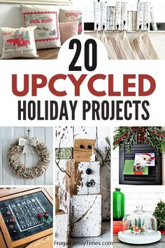 You can have beautiful holiday decor - on a budget - with these creative upcycled Christmas decorations ideas! Included are pallet Christmas trees, rustic snowmen, upcycled stocking hangers, Christmas scenes, lamps, teacup ornament, Christmas card holders, snow globes and more!