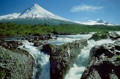 Petrohué River Falls with Osorno Volcano in the background.
