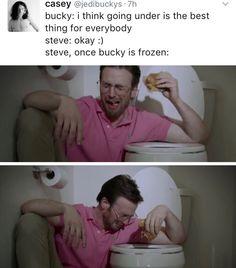 Stucky steve x bucky Marvel Memes, Marvel Dc Comics, Marvel Avengers, Avengers Memes, Marvel Funny, Stucky, Capitan America Chris Evans, Bucky And Steve, Dc Movies