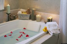 """Warm Bath Your body temp dips about two hours before bedtime, a natural change that """"triggers our brain for sleep onset."""" Soaking in a warm bath beforehand boosts your temperature temporarily, but results in a dramatic, rapid cool down after you get out that relaxes you & eases you into sleep.   The resulting cooling of your body temperature will help lull you to sleep. Research shows that people who take a warm bath not only fall asleep more quickly, but lso report better quality of sleep"""