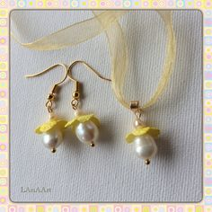 Jewelry set - pendant and earrings - natural white pearls and silk - yellow fairies of flowers - silk cocoons jewelry - handmade by LanAArt on Etsy
