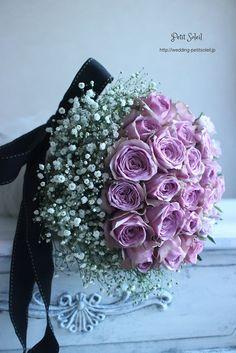 かすみ草とバラのブーケ baby's breath rose bouquet Wedding Flower Arrangements, Floral Arrangements, Baby's Breath Wedding Flowers, Bride Bouquets, Purple Roses, Floral Crown, Rose Bouquet, Rose Wedding, Wedding Trends