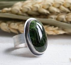Simple ring green stone ring Silver ring Bohemiam jewelry big