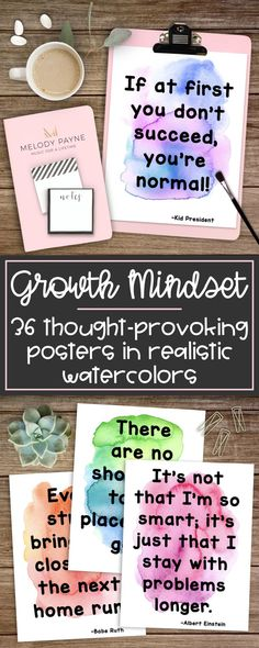 Inspire and motivate your students with vibrant realistic watercolor growth mindset quote posters. Topics related to building a growth mindset: working hard, not giving up, persistence in striving, growth, willingness and courage to try, and more. Perfect for decorating your classroom and reminding your students of hard work, perseverance, and growth. Fabulous for bulletin boards in elementary, middle, and high school.