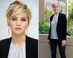 Jennifer Lawrence, with cute short hair.