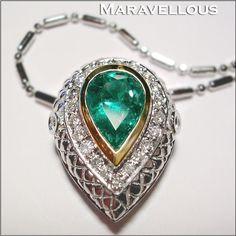 Colombian Emerald Diamond Necklace 14K/ SOLD