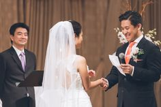 Groom reads his vows during a wedding ceremony at Dae Dong Manor in Flushing, NY. Captured by NYC wedding photographer Ben Lau.
