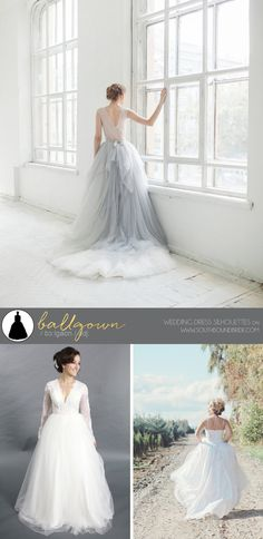 Wedding Dress Silhouttes: Ballgown | SouthBound Bride | http://southboundbride.com/a-southbound-guide-to-wedding-dress-silhouettes | Credit: Gardenia Wedding Gown by Carousel Fashion (top) | Long Sleeves Lace Applique Ballgown by Forever Us (bottom left) | Catalina Floral Wedding Dress by French Knot Couture (bottom right)