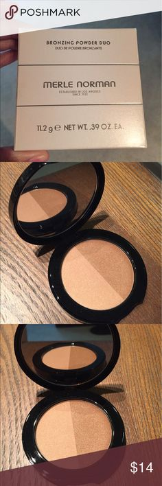 New Merle Norman Bronzing Powder Duo New, never used. Powder bronzer compact. Two shades. Fragrance free and oil free. Merle Norman Makeup Bronzer