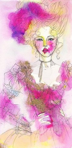 *Les roses sont roses*  Illustration of Marie-Antoinette  Watercolor, ink pen