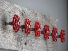 Rustic Barnwood Coat Hanger with 6 Red by ciaobellacollections
