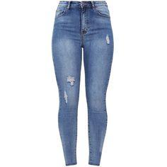 Vintage Distressed Knee Rip Skinny Jean ($33) ❤ liked on Polyvore featuring jeans, pants, bottoms, denim, distressed jeans, blue ripped skinny jeans, blue distressed jeans, skinny fit denim jeans and ripped denim skinny jeans