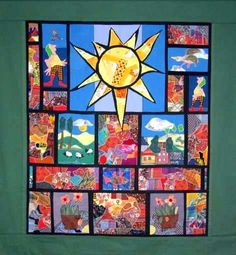 """""""Sunshine Dreams"""" art quilt wall hanging by Bodil Gardner."""
