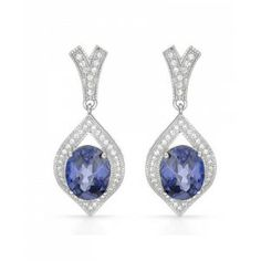 10.33 CTW Tanzanite Sterling Silver Earrings - December Birthstone – Tanzanite - Special Events