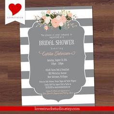 Bridal Shower Invitation  Grey Stripe Floral  by LoveStruckStudio