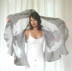 Nuno felted shawl large scarf wool and silk grey by MajorLaura, $125.00, #felt, #nuno, #scarf