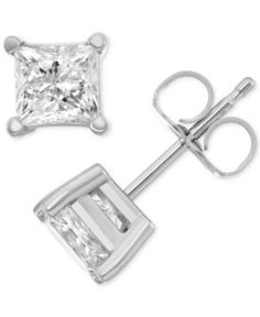 Macy's Star Signature Diamond Stud Earrings (1 ct. t.w.) in 14k White Gold - Silver