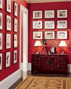 HALLWAY Pottery Barn a few years ago- BM Million Dollar Red! love the picture arrangement and the bright red (with nautical flag doors?) for the hall!