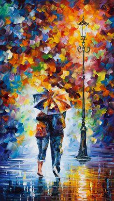 Rain Painting - Bonded By Rain 2 by Leonid Afremov Rain Painting, Oil Painting On Canvas, Canvas Art, Umbrella Painting, Knife Painting, Umbrella Art, Acrylic Art, Beautiful Paintings, Romantic Paintings