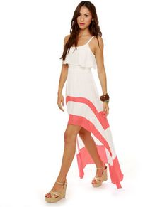 Merrily Rolling Along High Low Ivory and Coral Dress