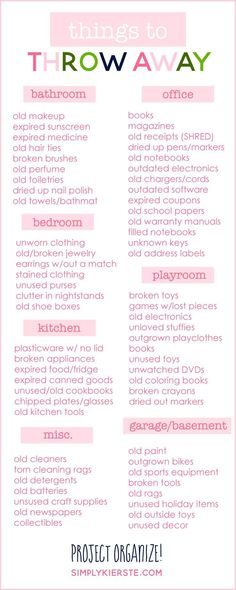 A great room-by-room list of things to throw away to help your home feel clean and uncluttered! It will make all the difference! #organizedhouse
