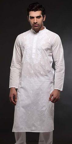 Latest Kurta and Shalwar Kameez Designs for Eid 2013 Shalwar Kameez, White Embroidery, Mehndi Designs, Eid, Chef Jackets, Indiana, How To Wear, Fashion, Moda