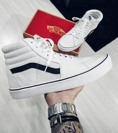 b643500698 Vans Sk8-Hi Reissue True White   Black Skate Shoes