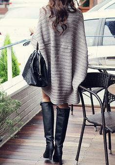 chunky cardigan & boots