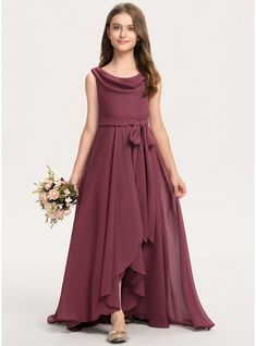 JJsHouse A-Line Cowl Neck Asymmetrical Chiffon Junior Bridesmaid Dress With Bow(s) Girls Frock Design, Long Dress Design, Baby Dress Design, Kids Frocks Design, Western Dresses For Girl, Stylish Dresses For Girls, Stylish Dress Designs, Frocks For Girls, Indian Gowns Dresses