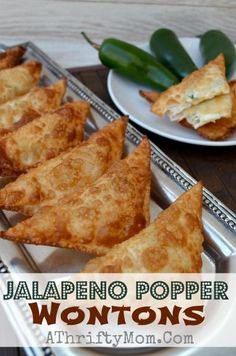Jalapeno Popper Wontons recipe, Quick and easy perfect finger food for a party Tailgating, party, game day, baby shower. what ever the occassion these are the perfect snack. Wonton Recipes, Mexican Food Recipes, Appetizer Recipes, Snack Recipes, Cooking Recipes, Bacon Recipes, Italian Appetizers, Milk Recipes, Cooking Tips