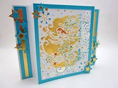 Designed by Lori Williams for @CraftersCompUS   Shadow Box Card   Die'sire Create-A-Card : Christmas Angel   Nordic Christmas Embossing Folder: Diamond Snowflakes  Ultimate Tool  Bebunni Floral Metal Dies #crafterscompanion #papercraft #HSNCrafts #Christmas #handmade #cardmaking #winter #festive