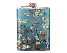 Van Gogh Blossoming Almond Tree  Liquor Hip Flask Steel 8 oz (FK-0387)