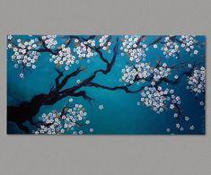 Original Painting Cherry Blossom Painting Sakura Painting Art by Susie Tiborcz Cherry Blossom Watercolor, Cherry Blossom Art, Forest Painting, House Painting, Painting Art, Sakura Painting, Aspen Trees, Original Paintings, Tapestry