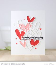 Are you loving all the sneak peeks you have seen so far? This latest MFT Release is so much fun! Release day is Tuesday, so there are 2 . Valentine Day Cards, Happy Valentines Day, Diy Valentine, Scrapbooking Album, Mft Stamps, Heart Cards, Paper Cards, Anniversary Cards, Decoration